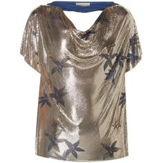 Preowned Versace Silver Oroton Top, Autumn/winter 1984 (€6.935) ❤ liked on Polyvore featuring tops, multiple, vintage floral top, flower print tops, versace top, floral print tops and flower top