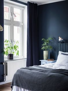 Home Decoration For Birthday Party Info: 7352523679 Blue Grey Rooms, Blue Green Bedrooms, Bedroom Green, Dark Blue Curtains, Dark Blue Walls, Blue Bedroom Curtains, Navy Curtains, Dark Blue Grey, Blue Bedside Tables