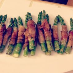 Prosciutto wrapped grilled asparagus - Valentines Day Dinner