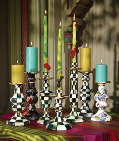 Courtly Check Candlesticks in multiple heights!