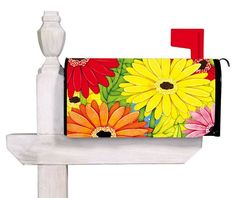 Bright Gerber Daisies Mailbox Cover- nice and bright to draw attention, Dawn do… Baby Monogram, Monogram Gifts, Security Mailbox, Magnetic Mailbox Covers, Painted Mailboxes, Gerber Daisies, Home Safety, Flag Decor, Cool Landscapes