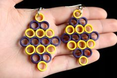 Handmade Yellow And Purple Diamond Paper Quilled Earrings