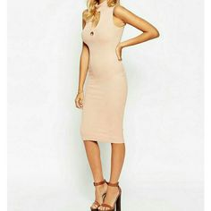 ASOS Ribbed Keyhole Midi Dress Blush Blush Dress by ASOS. Stretchy ribbed material flattering to the bust line, key hole cut out detail. Midi bodycon style in size 6. Material is 95% Viscose, 5% Elastane. Brand new with tags. Comes in original packaging. ASOS Dresses Midi