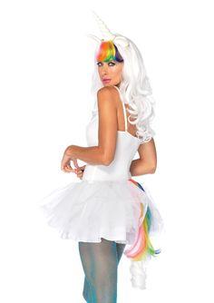 Kit licorne : Ce kit de licorne pour adulte se compose d'une perruque et d'une queue (costume et collants non inclus).La longue perruque ondulée de couleur blanche est accompagnée d'une...