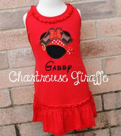 Pirate Minnie Mouse inspired personalized Sleeveless Dress. Disney trip outfit. Red Minnie Dress by JennsCGBoutique on Etsy https://www.etsy.com/listing/213562727/pirate-minnie-mouse-inspired