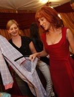 Kathy Griffin prefers the Baby Blue & Pink flannel pajamas with the Drop Seat #bigfeetpjs #kathygriffin