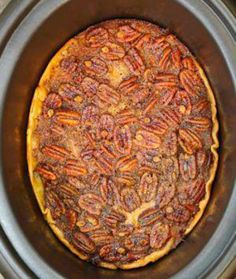 "Crock pot pecan pie... going ""nuts"" just thinking about trying this out."