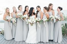 Light Grey Convertible Long Bridesmaid Dresses by Jenny Yoo Collection