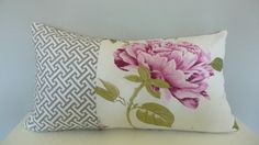 SALE! Pink and Gray Lumbar Pillow Cover 12x22 ,Patchwork Gray Geometric and Pink Flower Pillow, Accent Pillows