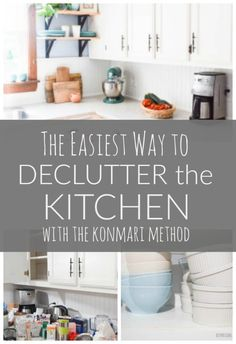 The best tips for using the Konmari Method to declutter and organize the kitchen; clearing countertops, getting rid of unused items; sparking more joy in the home. New Kitchen, Kitchen Decor, Kitchen Design, Kitchen Ideas, Kitchen Inspiration, Kitchen Organization, Kitchen Storage, Organization Ideas, Storage Ideas