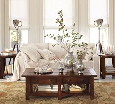 I love the simplicity of this room - and I will do anything for more Mercury Glass! Pottery Barn
