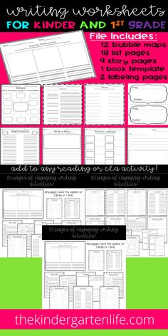 91 AWESOME! Writing Worksheets 1st grade and kindergarten from thekindergartenlife.com. Designed to work with any Reading or ELA activity, no color, no prep! Easy organizing with instructions and table of contents. Lists, sentences, story elements, parts of speech, labeling, bubble maps and more! #tpt #teacherspayteachers #thekindergartenlife.com #first grade #kindergarten #writing worksheets Writing Lists, Sentence Writing, Writing Skills, Writing Worksheets, Worksheets For Kids, Writing Activities, Teacher Notebook, Story Elements, Parts Of Speech