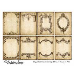 Ephemera ~ Elegant Ornate Tags 8 tags