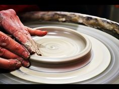 Throwing / Making a clay Pottery bowl on the wheel liquid bottom effect ...