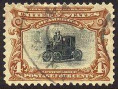 Briefmarke mit altem Elektromobil