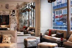 Rockwell Group Europe has teamed up with Starwood Hotels & Resorts Worldwide to design the W Paris-Opéra, W Hotels' debut in France. The hotel occupies an elegant Haussman-era building located across the street from the famous Opéra Garnier. Paris Hotels, Hotel Paris, Hotel Lounge, W Hotel, Bar Lounge, Lounge Sofa, Lounge Design, Hotel Lobby, Rockwell Group