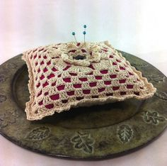 Crocheted flower pincushion  crochet square by BitsOfFiber on Etsy, $20.00