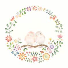 幸せな小鳥と花の輪 by Atelier RiLi | アトリエ リリ | CREATORS BANK http://creatorsbank.com/RiLi/works/309486