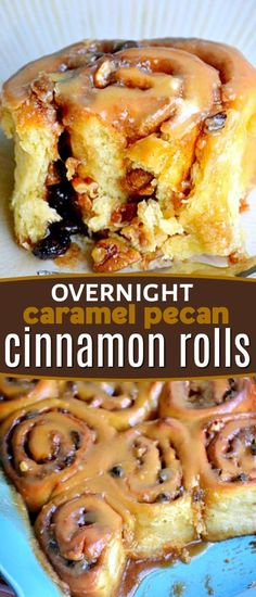 outrageous Caramel Pecan Cinnamon Rolls can be prepared the night before and baked fresh in the morning! Dripping with delicious caramel cinnamon roll icing and stuffed with pecans and raisins - these cinnamon rolls are irresistible! // Mom On Timeout Overnight Cinnamon Rolls, Best Cinnamon Rolls, Caramel Pecan Cinnamon Rolls Recipe, Breakfast Pastries, Breakfast Dishes, Breakfast Cake, Cinnamon Roll Icing, Pie Crust Cinnamon Rolls, Biscuit Cinnamon Rolls