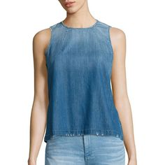 AG Brie Denim Shell ($55) ❤ liked on Polyvore featuring tops, apparel & accessories, denim tank, denim top, sleeveless denim top, sleeveless tank tops and blue tank