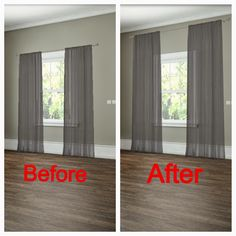 How to hang your curtains to give the illusion of larger windows. -- 27 Easy Remodeling Projects That Will Completely Transform Your Home(Diy House Renovations) Diy Casa, Easy Home Decor, Best Interior Design, Home Renovation, Home Projects, Home Improvement, New Homes, House Design, Bed Design
