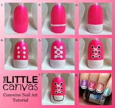 Converse Nail Art Step By Step ~ Entertainment News, Photos . Converse Nail Art Step By Step ~ Unt Cute Nail Art, Nail Art Diy, Cute Nails, Gel Nail Art Designs, Simple Nail Designs, Dotting Tool Designs, Easy Designs, Nails Design, Stylish Nails