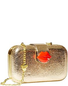 Betsey Johnson BJ29650 Kiss Closure Lock Clutch in Metallic Gold with RED Lips! #BetseyJohnson #Clutch