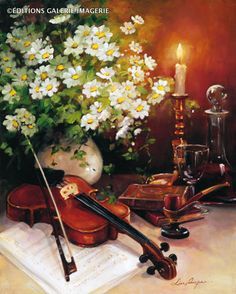 [for you Patti ~ C:] A Musical Note by Lise Auger Violin Art, Oil Painting Pictures, Autumn Scenes, Still Life Photography, Instruments, Wall Art Prints, Musicals, Beautiful Pictures, Fine Art