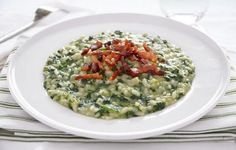 Risotto agli spinaci con pancetta croccante