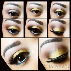 Yellow/brown with a touch of blue #makeup