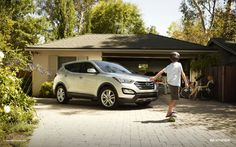 """Friend"" your kids in real life. The 2013 Santa Fe Sport in Moonstone Silver. Learn more about the new Santa Fe at hyundai.com"