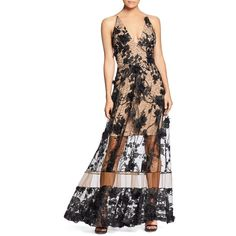 Dress the Population Gig Floral Illusion Gown ($325) ❤ liked on Polyvore featuring dresses, gowns, floral design dresses, botanical dress, floral print gowns, floral printed dress and floral gown