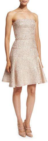 Oscar de la Renta Strapless Fit-&-Flare Cocktail Dress, Light Pink/Gold   https://api.shopstyle.com/action/apiVisitRetailer?id=601302402&pid=uid2500-37484350-28