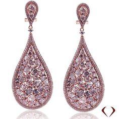 GIA 11.08ctw 18KT Rose Gold Natural Fancy Pink VS Diamond Earrings