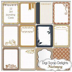 Nutmeg Pocket Journal Cards, 3x4 Collage, Project Life Inspired, Printable Digital Scrapbook, Cinnamon Brown, Black, Gray Instant Download