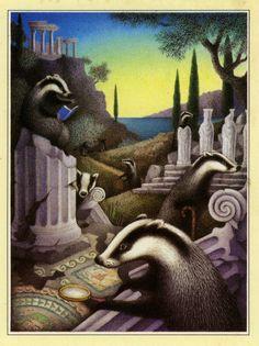 """ Eight eminent Englishmen eagerly examining Europe. "" Nicola Bayley from her book "" One Old Oxford Ox. "" 1976 Woodland Creatures, Fantasy Creatures, Hogwarts Houses Crests, Nostalgia Art, Creation Photo, Animal Magic, Communication Art, Badger, Book Illustration"