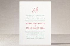 """""""Love Stacked"""" - Simple, Floral & Botanical Letterpress Wedding Invitations in Salmon by Carolyn MacLaren."""