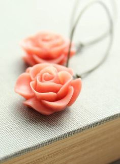 Coral Rose Earrings Flower Earrings Floral