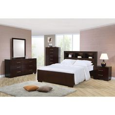 The beautiful Highland 5-piece bedroom set features a gorgeous cappuccino finish and luxurious features like dovetail felt-lined drawers and a storage headboard.