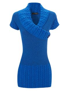blue asymmetric cable jumper....chunky knits this fall anyone???