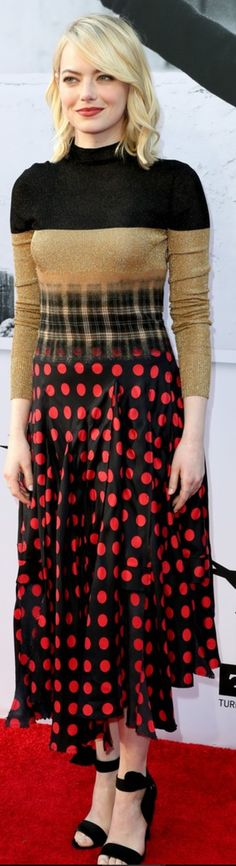 Who made Emma Stone's black sandals and print dress?