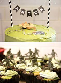 Camo cake with army men on cupcakes. Awesome Army Boot Camp Birthday Party - would be cute to use the army guys for a ladies' boot camp party too Camouflage Party, Camo Party, Nerf Party, Camouflage Cupcakes, Army Birthday Parties, Army's Birthday, Birthday Ideas, Soldier Party, Party Entertainment