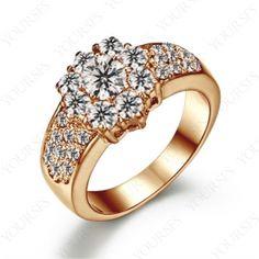 18K Rose Gold Plated Swarovski Crystal Emulational Diamond Flower Engagement Ring R137R1