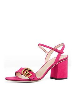 X3D0K Gucci Marmont Suede 75mm Sandal, Pink