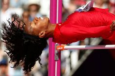 Going backwards? - United States' Brigetta Barrett competes in a women's high jump qualification round.