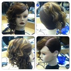 styled by me ,side slick back, curls, highlights