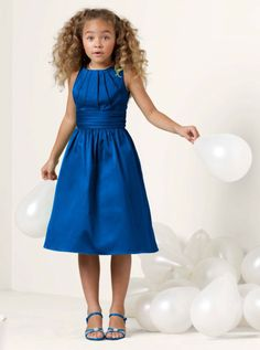 Adorable girls dress in horizon blue from David's bridal.                                                                                                                                                     More