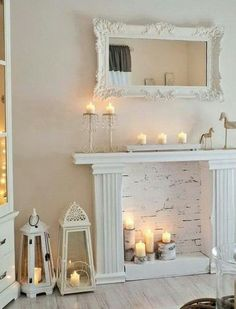 Most current Photos cottage Fireplace Mantels Tips 60 Seedy Chic Farmhouse Living Room Decor Ideas Living Room Styles, Living Room Images, Living Room Designs, Shabby Chic Living Room, Shabby Chic Homes, Living Room Decor, Living Rooms, Bedroom Decor, Faux Fireplace Mantels