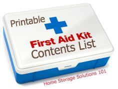 home storage solutions, content list, travel kits, check lists, first aid kit for camping, first aid kits, kit content, emergency kits, first aid survival kit