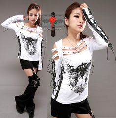 Visual Kei top, lace up sleeve detail.  Lace up detail on side of top.  Inspiration for my own visual kei top.